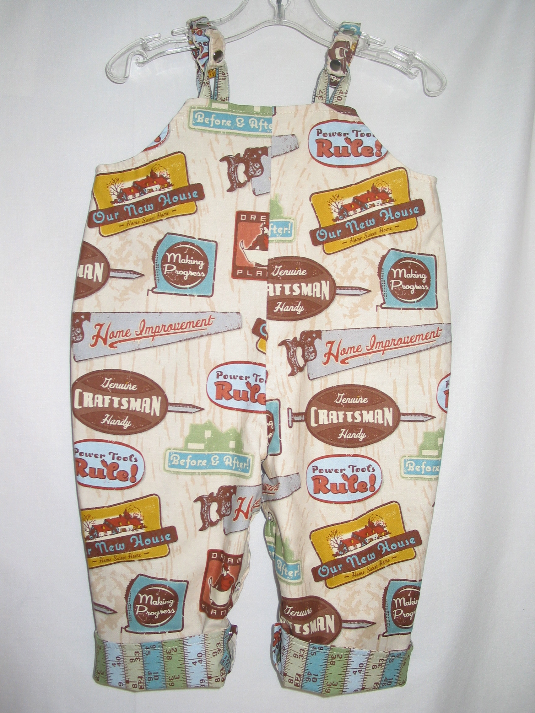 Handmade reversible overalls by Nana's Creations, Portland Oregon