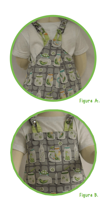 sizing adjustments for Nana's reversible overalls